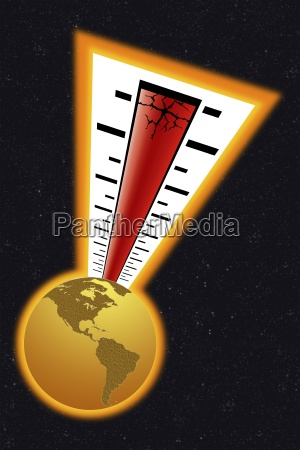 thermometer above a globe
