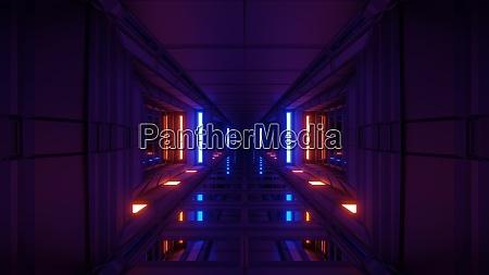 clean futuristic scifi tunnel corridor with