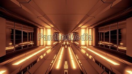 futuristic scifi tunnel corridor with hot