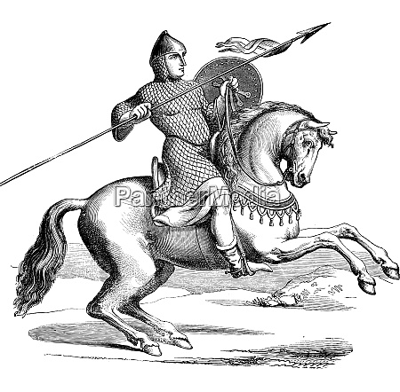 knight on a horse wearing hauberk