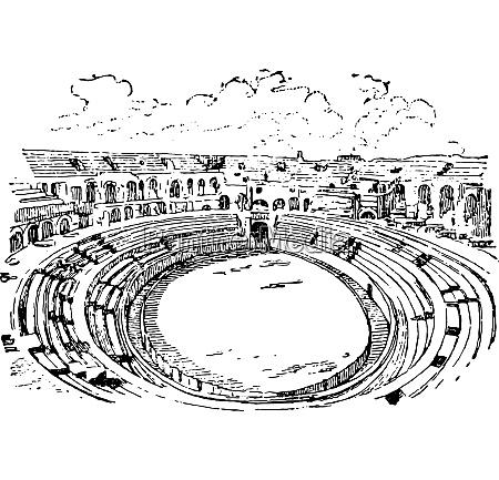 amphitheater in nimes vintage engraving