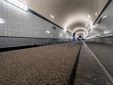 old elbe tunnel with cyclists hamburg