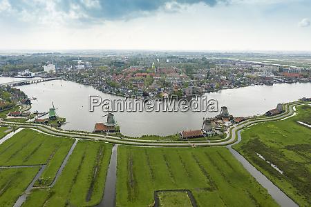 netherlands north holland zaandam aerial view