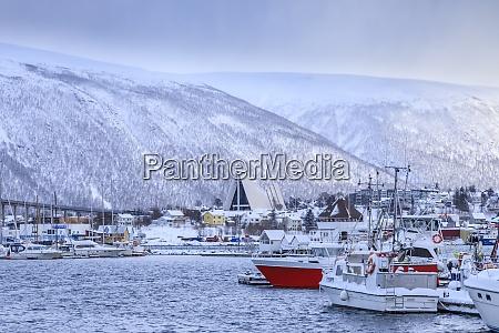 tromso small boat harbour fjord bridge