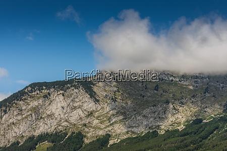 foggy blue sky at a mountain