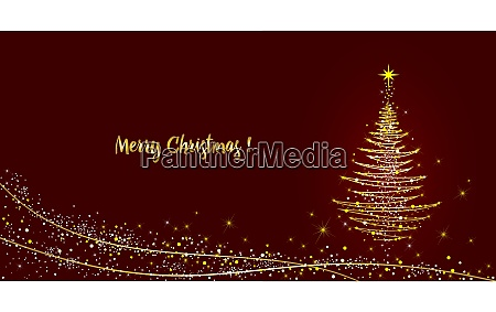 greeting card christmas tree shining with