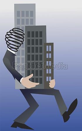 businessman carrying a skyscraper