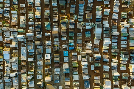 aerial view of rows of graves