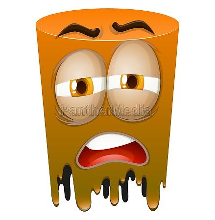sad face on orange tube
