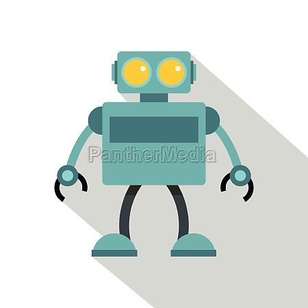 blue robot icon flat style
