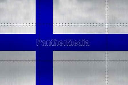 flag of finland on metal