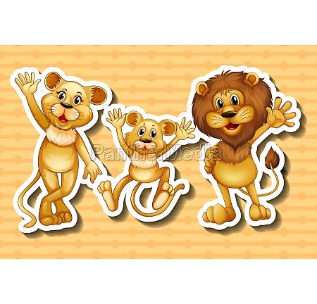 lion family on orange background