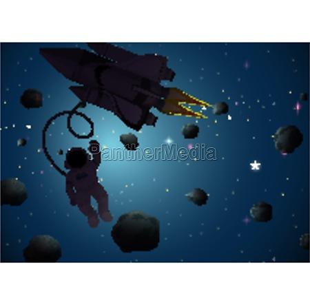 astronaut in space scene